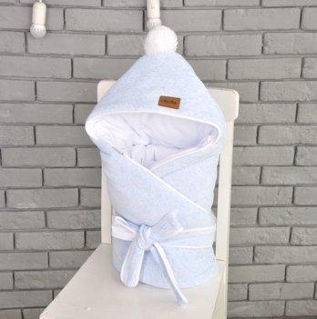 Конверт-одеяло на выписку Magbaby, велюровый на трикотаже, голубой меланж