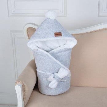 Конверт-одеяло на выписку Magbaby, велюровый на махре, серый меланж
