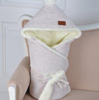 Конверт-одеяло на выписку Magbaby, велюровый на махре, бежевый меланж