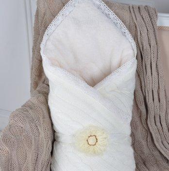 Вязаный конверт-одеяло Magbaby шерсть-махра молочный