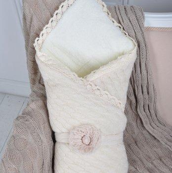 Вязаный конверт-одеяло Magbaby шерсть-махра бежевый