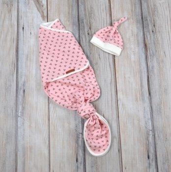 Безразмерная пеленка-кокон + шапочка Magbaby Каспер, Треугольники розовые, на липучках