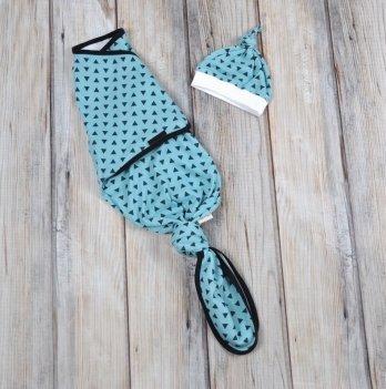 Безразмерная пеленка-кокон + шапочка Magbaby Каспер, Треугольники голубые, на липучках