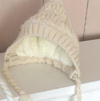 Вязаная шапочка Magbaby на махре беж