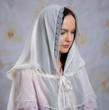 Палантин Діва Марія для взрослых шифон Бетис 27081806 белый 80х120 см