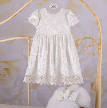 Детское платье с повязкой Бетис Оксамитовий блиск Молочный Бархат 27684337