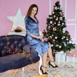Платье для беременных и кормящих MBerry dress бархатное, синее