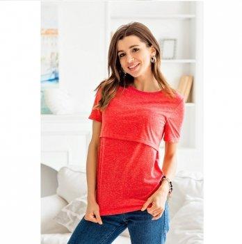 Футболка однотонная для беременных и кормящих мам Nizza Lullababe малиновый
