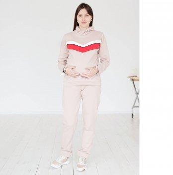 Штаны из утепленного футера для беременных и кормящих мам MBerry dress бежевые
