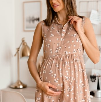 Летнее платье для беременных Lullababe Sofia Бежевый