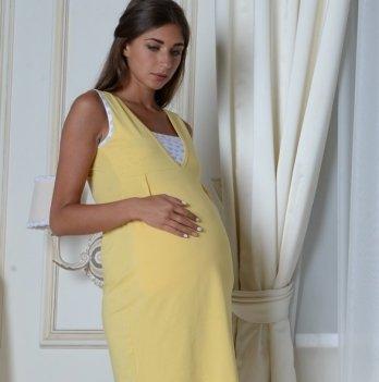 Ночная рубашка для беременных и кормящих Skif Textile, желтая с лифом