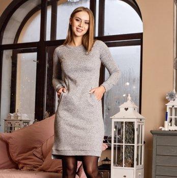 Платье повседневное для кормящих мам утепленное Hamburg Lullababe светлый меланж