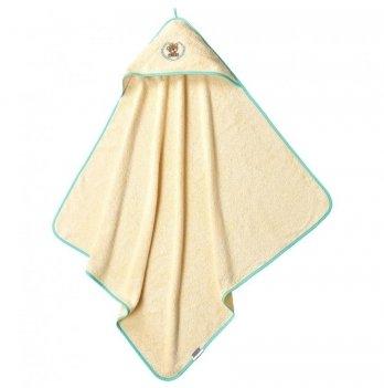 Пеленка-капюшон махровая Мишка Idea 8-02391 молочно-ментоловый 100х100 см