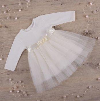 Платье Бетис Нежность интерлок/фатин Молочный 27075224 1,5-3 года