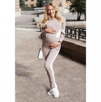 Спортивный костюм для беременных Юла мама Deniza Темно-бежевый/Молочный ST-30.012