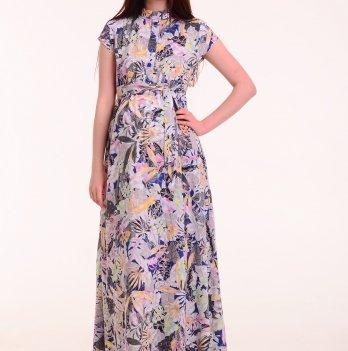 ae52078fff37 Платье в пол для беременных АРИША (бело-серые листья на синем фоне),