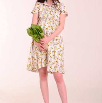 Платье для беременных и кормящих мам JASMIN MINI YELLOW FLOWERS, White Rabbit