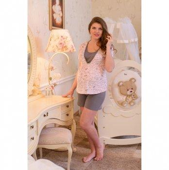 Пижама  для беременных и кормящих мам MammaLux, серые шорты с розовой кофточкой