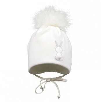 Зимняя шапка для девочки Broel, возраст от 6 до 9 месяцев, арт. HENDI, белая