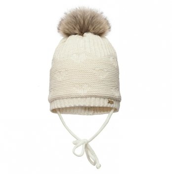 Зимняя шапка для девочки Broel, возраст от 3 до 12 месяцев, арт. HOPPA, экрю
