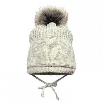 Зимняя шапка для девочки Broel, возраст от 3 до 12 месяцев, арт. HOPPA, светло-серая