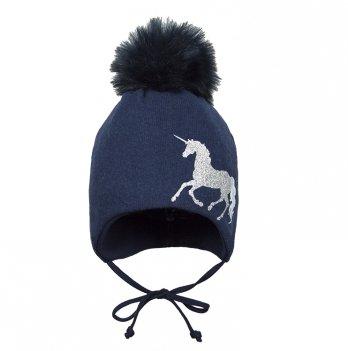 Зимняя шапка для девочки Broel, возраст от 12 до 18 месяцев, арт. ILIADA, синяя