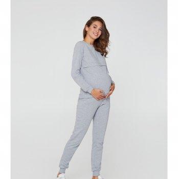 Спортивный костюм для беременных и кормящих мам Lullababe Detroit Серый