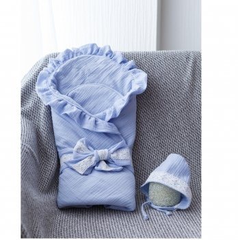 Муслиновый конверт с шапочкой Magbaby Shery Голубой 102490 85х85 см