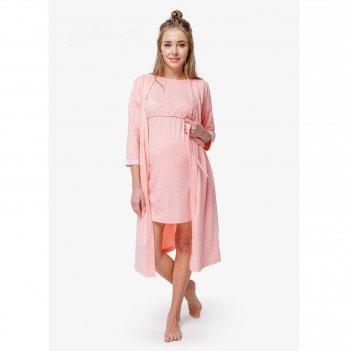 Комплект халат и ночнушка в роддом Creative Mama Peach Coton хлопок