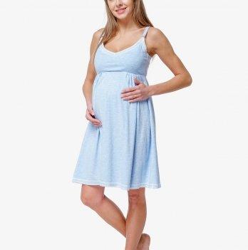 Ночная сорочка для беременных и кормящих мам Creative Mama, Atlantik, голубая на бретельках