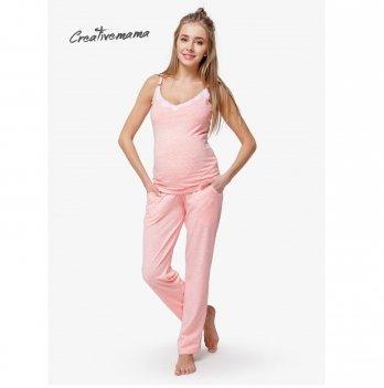 Пижама для беременных и кормящих мам Creative Mama, Peach Coton Размер XS