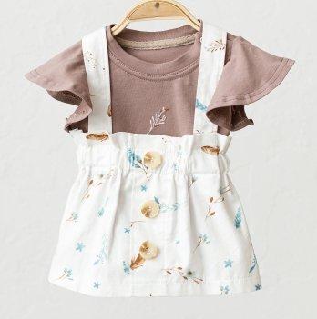 Летний костюм для девочки Magbaby Peri Молочный/Коричневый 0-3 года