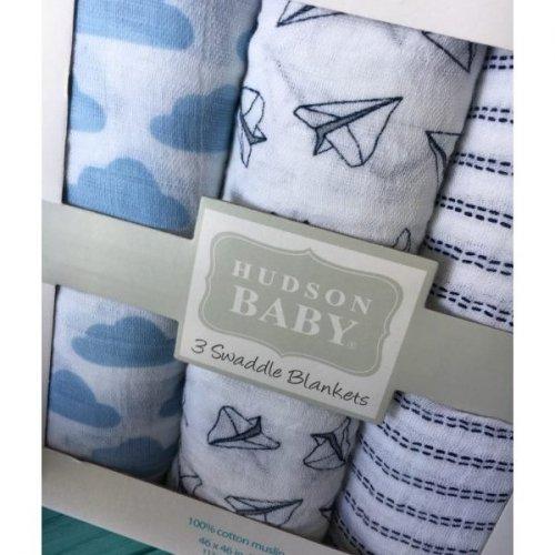 Пеленки муслиновые Hudson Baby, Бумажные кораблики голубые, 3 шт ... 8ddeed1014a