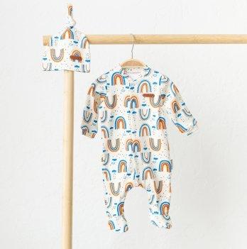 Человечек детский с шапочкой Magbaby Liam Радуга 0-9 месяцев