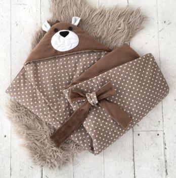 Плед Magbaby для новорожденного на выписку Мишка коричневый