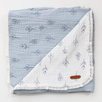 Плед для новорожденных из муслина Magbaby Lint Голубой/Белый 85*85 см