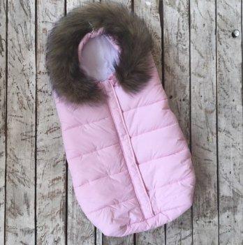 Дутый конверт-мешок Magbaby Snowmen с натуральной опушкой розовый