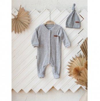 Человечек для новорожденных с шапочкой Magbaby Liam Серый