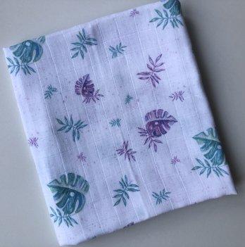 Муслиновая пеленка Embrace Листики разноцветные 100х80 см