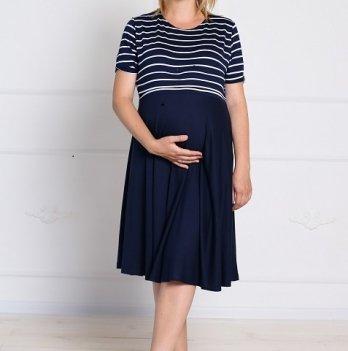 Платье для беременных и кормящих MBerry dress, синее, с полосками