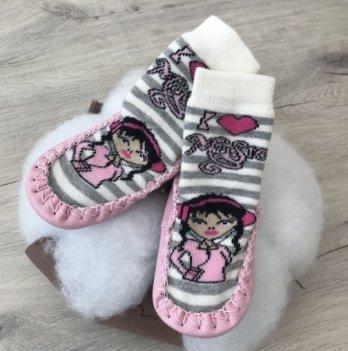 Детские носки с подошвой Бетис Дівчинка Розовый махра 2004