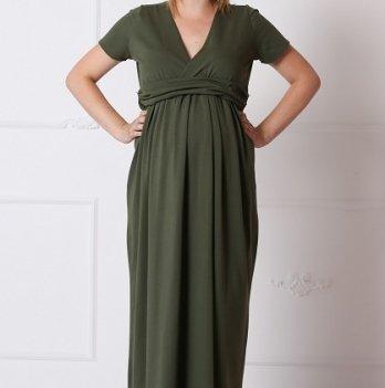 Платье для беременных и кормящих MBerry dress, хаки, из хлопка