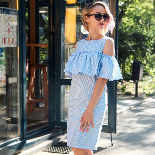 b9ad9870d645 Красивое летнее платье для беременных и кормящих мам с воланом Lullababe,  ...