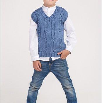 Трикотажный жилет ТМ Lutik крупная вязка, цвет джинс