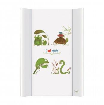 Пеленальный жесткий матрас Ceba Baby I Love Mom, 50х70 см, белый/рисунок рептилии