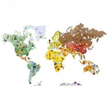 Развивающая игра Janod Карта мира с животными J02850