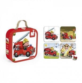Набор из 4 пазлов Janod Лео и его пожарная машина J02882
