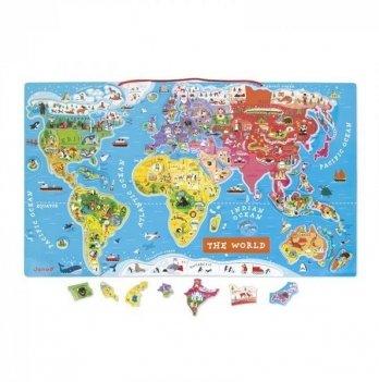 Магнитная карта мира Janod англ.язык J05504