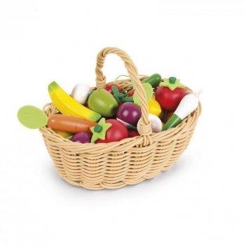 Игровой набор Janod Корзина с овощами и фруктами 24 элемента J05620