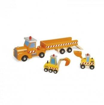 Игровой набор Janod Автовоз и 2 бульдозера J08575